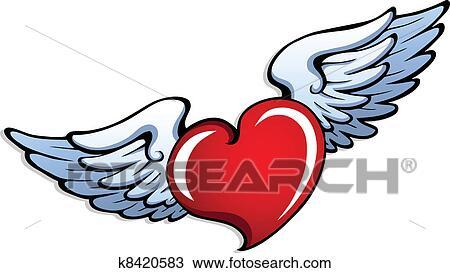 Clipart Estilizado Corazón Con Alas 1 K8420583 Buscar Clip
