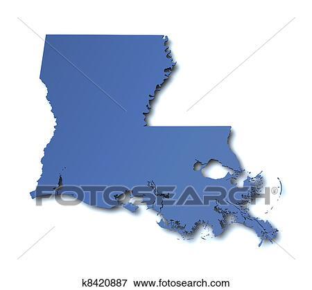 Stock Illustration Of Map Of Louisiana Usa K8420887 Search Eps