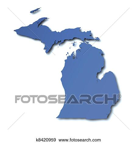 Map of Michigan - USA Stock Illustration | k8420959 | Fotosearch