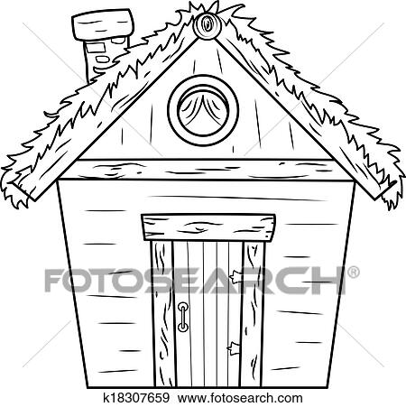 Clip Art Of Old Hut K18307659 Search Clipart Illustration Posters