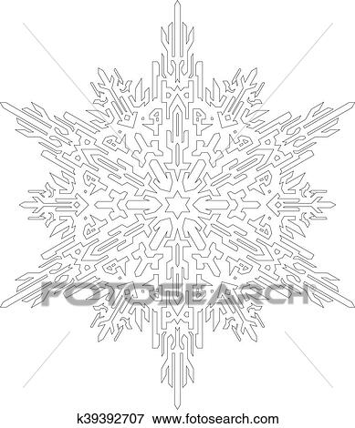 Outlines of snowflake in mono line style for coloring book. Vector ...