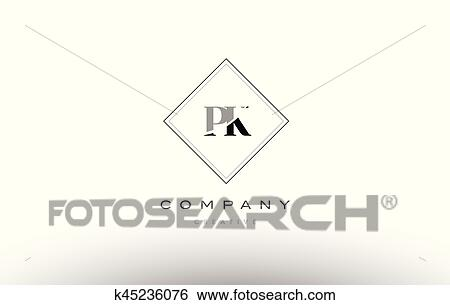 Clip Art Of Pk P K Retro Vintage Black White Alphabet Letter Logo
