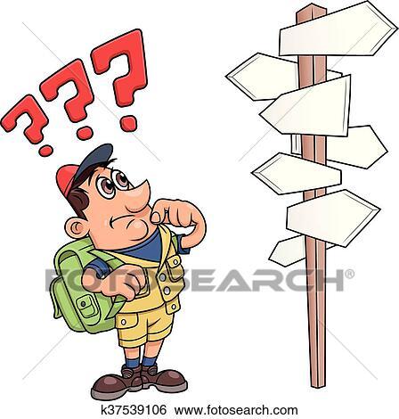 Clipart voyageur est confondu par panneaux - Voyageur dessin ...