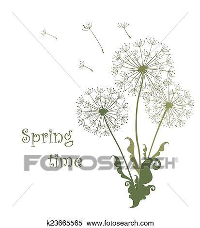 春 カード で たんぽぽ クリップアート切り張りイラスト