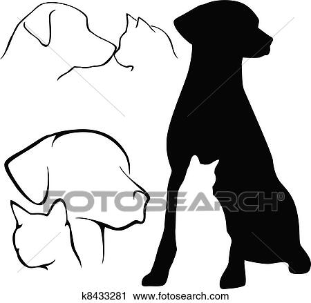 clipart of dog cat silhouettes k8433281 search clip art rh fotosearch com dog and cat clip art images dog and cat clip art free celebrating