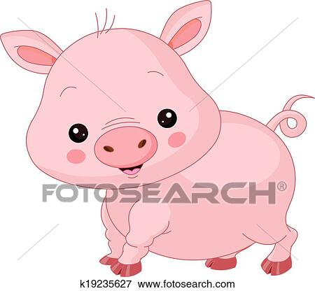 Animal Farm Pig Character Cheerful Calf Cute Embracing Happy Joy Mammal Offspring Single Small Smiling Young Baby Piglet Artworks Cartoon