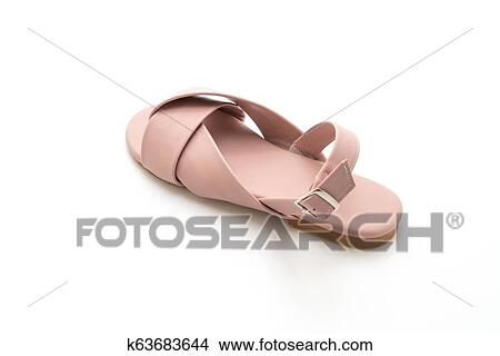d6b8e9b00928 Fashion female and woman leather sandals with slingback isolated on white  background