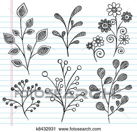 Flowers And Leaves Sketchy Doodle V Clipart