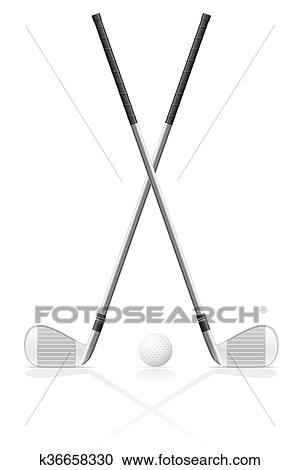 Golf Club And Ball Vector Illustration Clipart K36658330 Fotosearch
