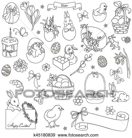 Archivio Illustrazioni Vettore Set Di Pasqua Simboli K45180839