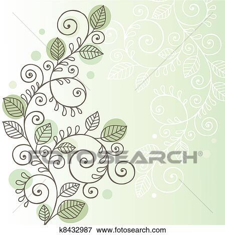 Vines And Leaves Doodle Design Clip Art K8432987 Fotosearch