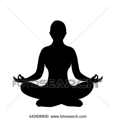 Woman Silhouette Of Lotus Yoga Pose Clipart K43406830 Fotosearch