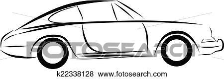 Clip Art - auto rennen, auto, logo, strichzeichnung k22338128 ...