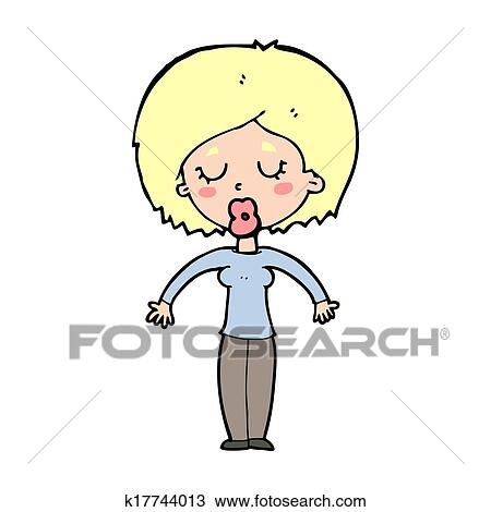 Cartoon Woman With Closed Eyes Drawing K17744013 Fotosearch