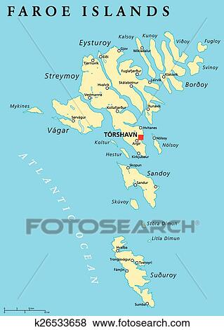 Faroe Islands Political Map Clip Art | k26533658 | Fotosearch