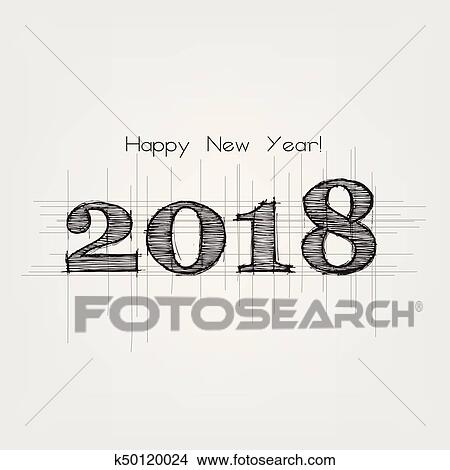 clipart happy new year 2018 fotosearch search clip art illustration murals