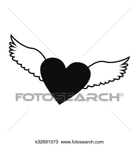 Heart With Wings Simple Icon Clipart K32691573 Fotosearch