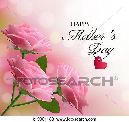 Holiday Background With Pink Beautiful Flowers Mothers Day Vector