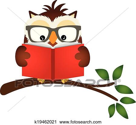 Clipart Of Owl Reading A Book On Tree Branch K19462021