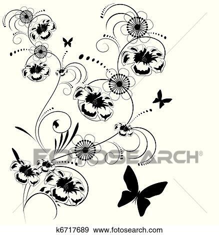 Clip Art - schwarz weiß, blumen-, hintergrund k6717689 - Suche ...