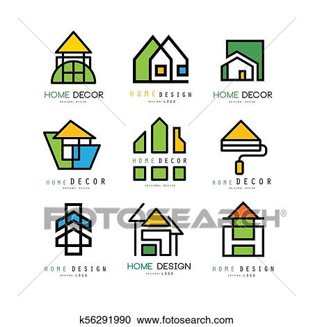 Clipart Of Set Abstract Linear Logos For Construction Or