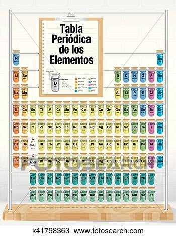 Clipart tabla periodica de los elementos periodic tabla de tabla periodica de los elementos periodic tabla de elementos en espaol language el consistir de probetas con el nombres y nmero de urtaz Images