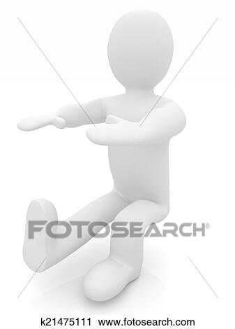 3d man isolated on white  Series: morning exercises - hands with Clip Art