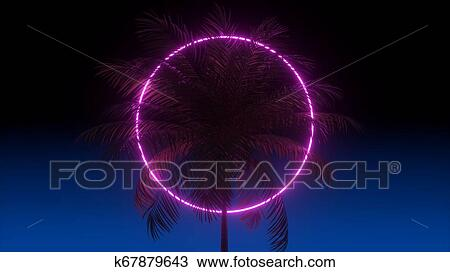3D vaporwave render background with neon circle, palms and night blue sky   Synthwave 1980s rentowave illustration  Drawing