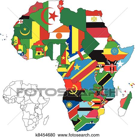 Clipart of Africa Continent Flag Map k8454680 - Search Clip Art ...