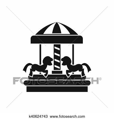 Carrousel Dessin dessin - carrousel, à, chevaux, icône, simple, style k40624743