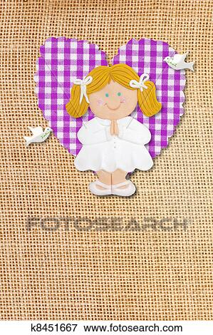 First Holy Communion Invitation Card, rustic style, funny blond girl in burlap background