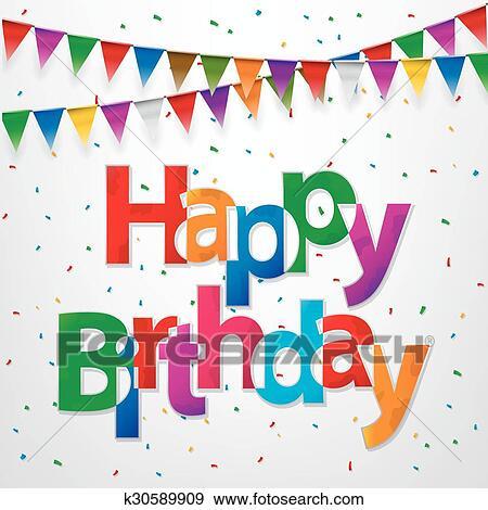 Gelukkige Verjaardag Creatief Tekst Clipart K30589909