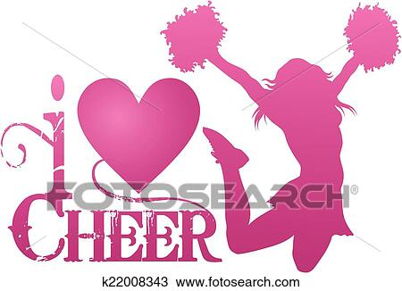 Clipart je amour acclamation sauter cheerlead - Clipart amour ...