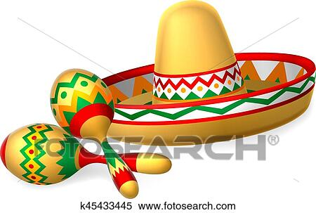2fc6a80f5a2 Mexican Sombrero Hat and Maracas Shakers Clipart k45433445