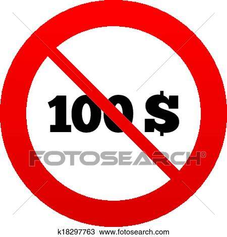 No 100 Dollars sign icon  USD currency symbol  Clipart