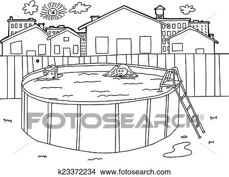 clipart of outline swimming pool scene k23372234 search clip art