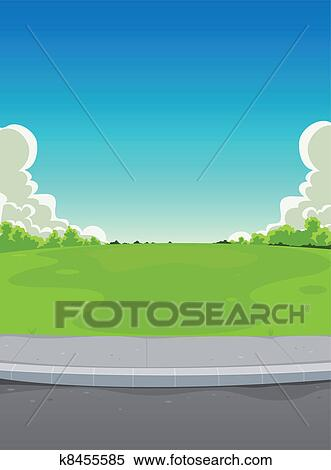 clipart of pavement and green park background k8455585