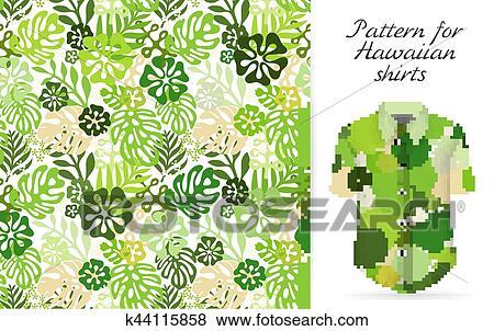 Tropical aloha pattern. Vector Clip Art