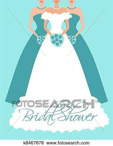 Clip Art of Bride and Bridesmaids in Blue k8467678 - Search Clipart ...