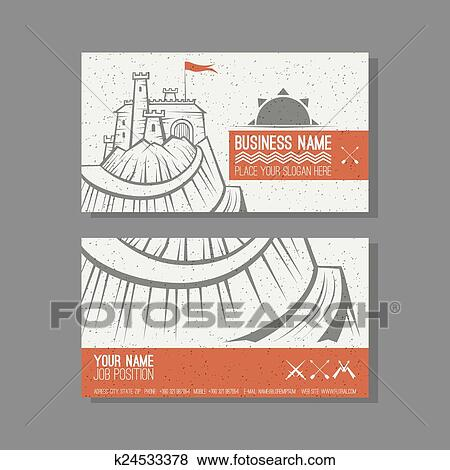 Business Card Template With A Picture Of The Castle On Mountain