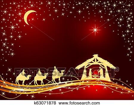 Christmas Scene On Sky Background Stock Vector - Illustration of night,  manger: 35677140