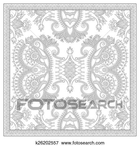 Coloring book square page for adults - ethnic floral carpet Clip Art