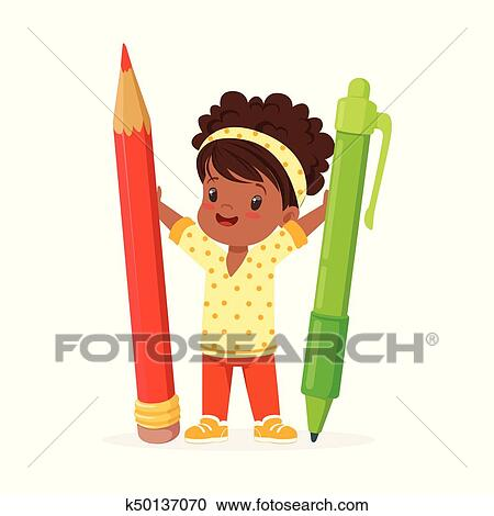 cute black little girl holding giant red pencil and green pen cartoon vector illustration clipart k50137070 fotosearch https www fotosearch com csp846 k50137070