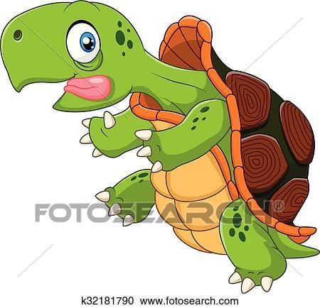 Clipart dessin anim rigolote tortue courant - Image tortue rigolote ...