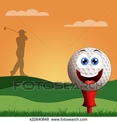 Funny Golf Ball On Golf Course Stock Illustration K22640848 Fotosearch