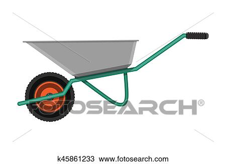 Garden Metal Wheelbarrow, Tools For Gardening And Construction Industry.  Vector Illustration In Flat Style