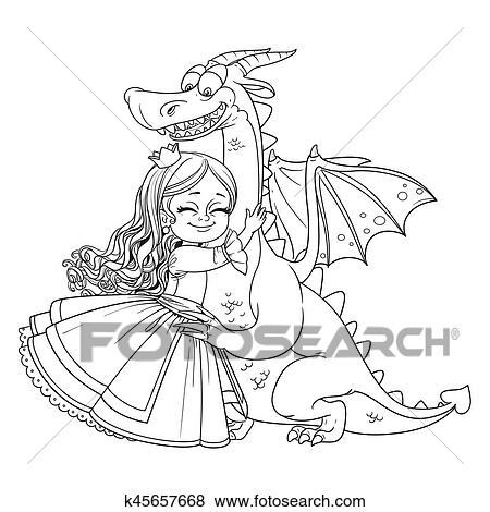 Kleine Prinzessin Umarmungen Feuerdrachen Umrissen Bild Für Ausmalbilder Weiß Hintergrund Clip Art