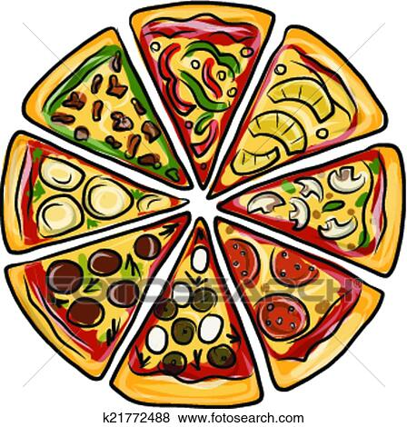 Clip Art Pezzi Di Pizza Schizzo Per Tuo Disegno K21772488