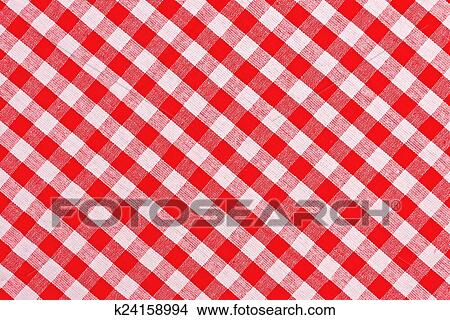 Bon Red And White Checkered Tablecloth Pattern Texture As Background