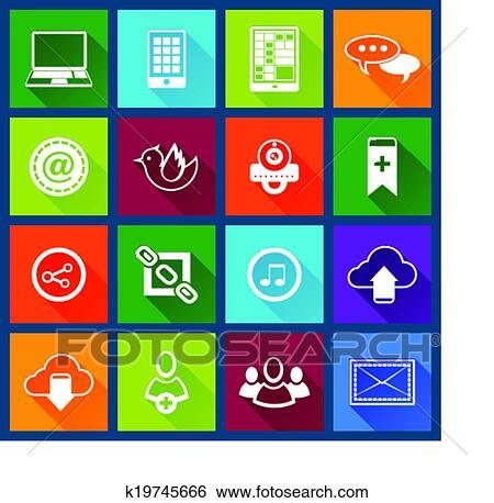 Clip Art Of Social Media Icons Set K19745666 Search Clipart